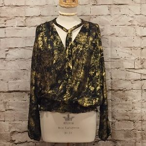 Michael Kors Black and Gold Blouse